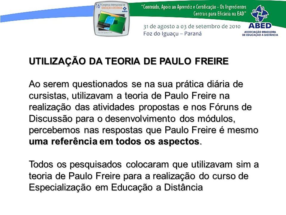 UTILIZAÇÃO DA TEORIA DE PAULO FREIRE