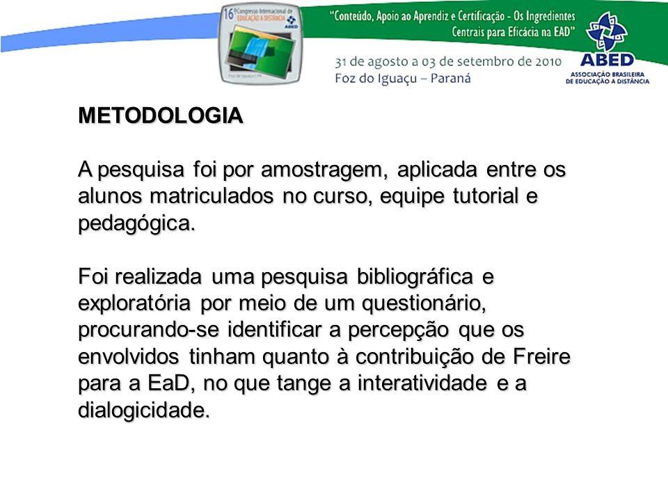 METODOLOGIAA pesquisa foi por amostragem, aplicada entre os alunos matriculados no curso, equipe tutorial e pedagógica.