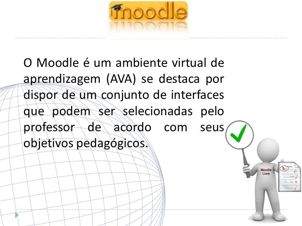 O Moodle é um ambiente virtual de aprendizagem (AVA) se destaca por dispor de um conjunto de interfaces que podem ser selecionadas pelo professor de acordo com seus objetivos pedagógicos.