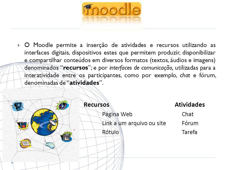O Moodle permite a inserção de atividades e recursos utilizando as interfaces digitais, dispositivos estes que permitem produzir, disponibilizar e compartilhar conteúdos em diversos formatos (textos, áudios e imagens) denominados recursos ; e por interfaces de comunicação, utilizadas para a interatividade entre os participantes, como por exemplo, chat e fórum, denominadas de atividades .