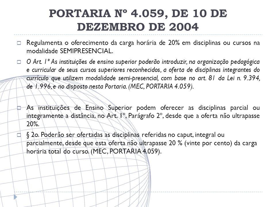 PORTARIA Nº 4.059, DE 10 DE DEZEMBRO DE 2004