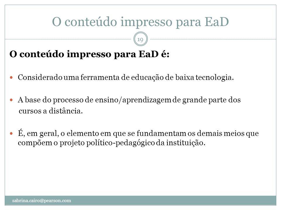 O conteúdo impresso para EaD