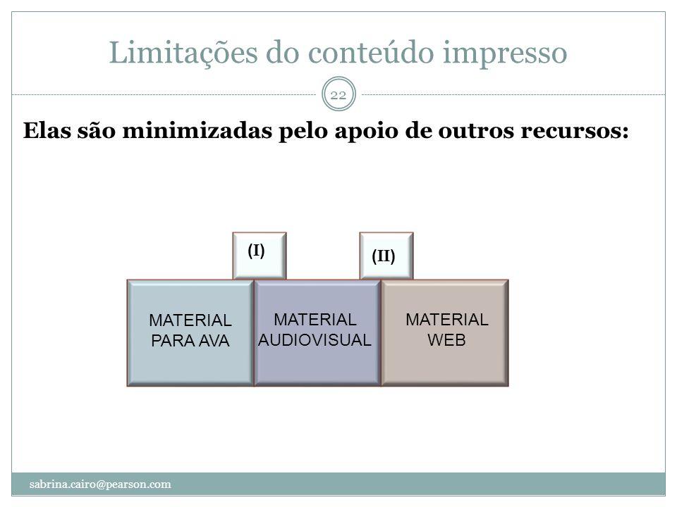 Limitações do conteúdo impresso