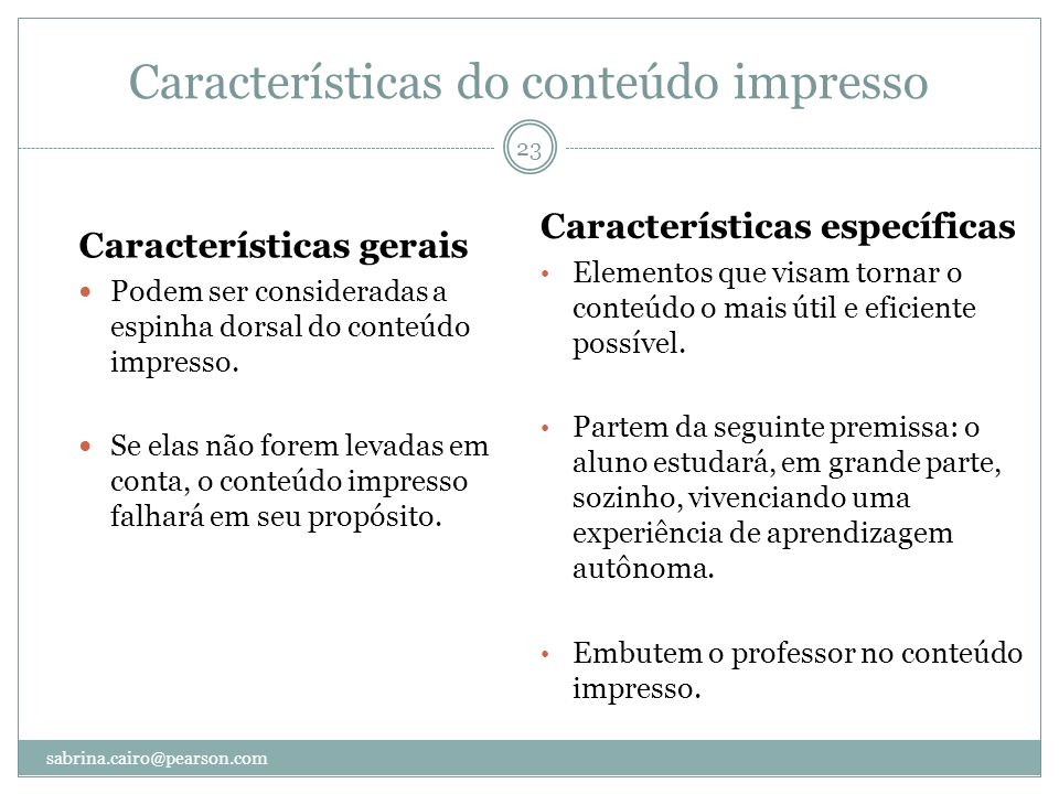 Características do conteúdo impresso
