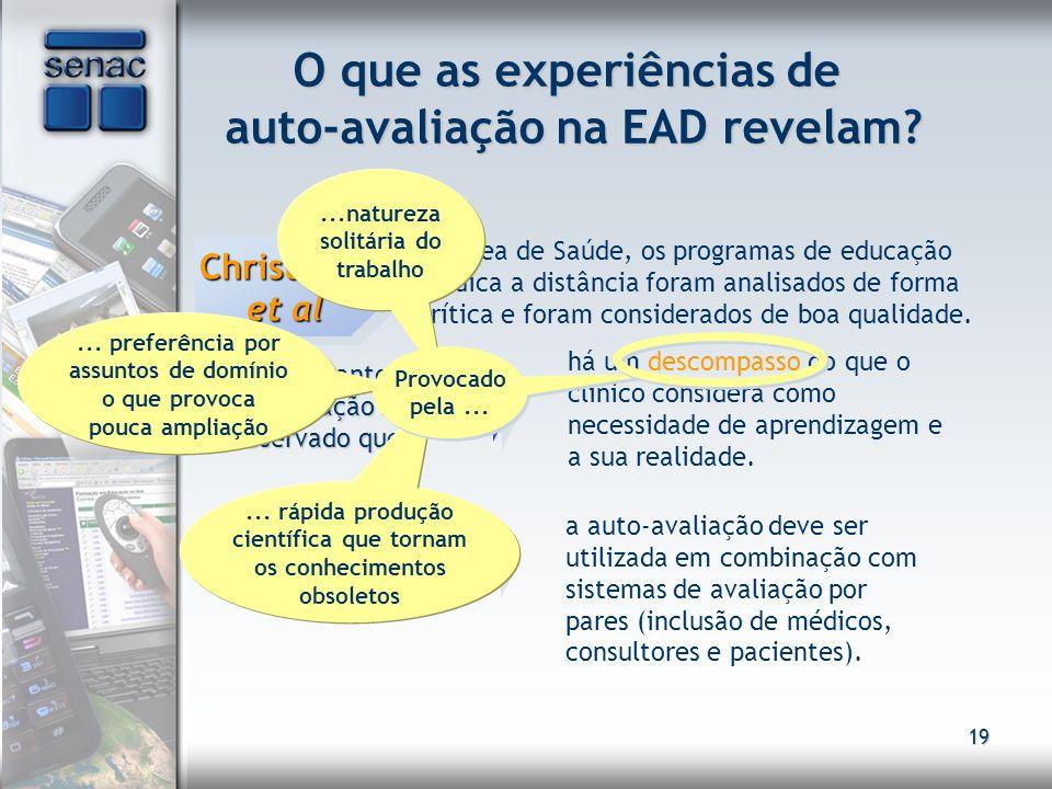 O que as experiências de auto-avaliação na EAD revelam