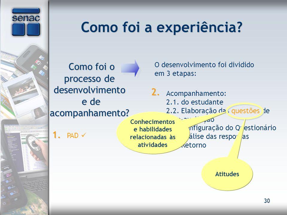 Conhecimentos e habilidades relacionadas às atividades