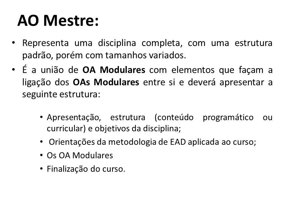 AO Mestre: Representa uma disciplina completa, com uma estrutura padrão, porém com tamanhos variados.