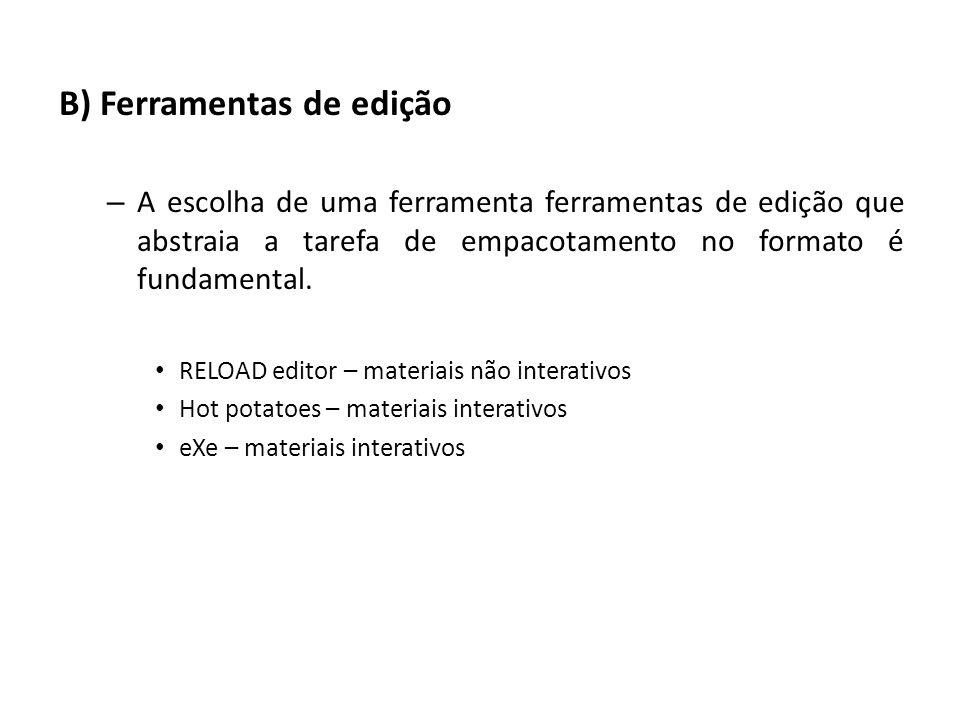 B) Ferramentas de edição