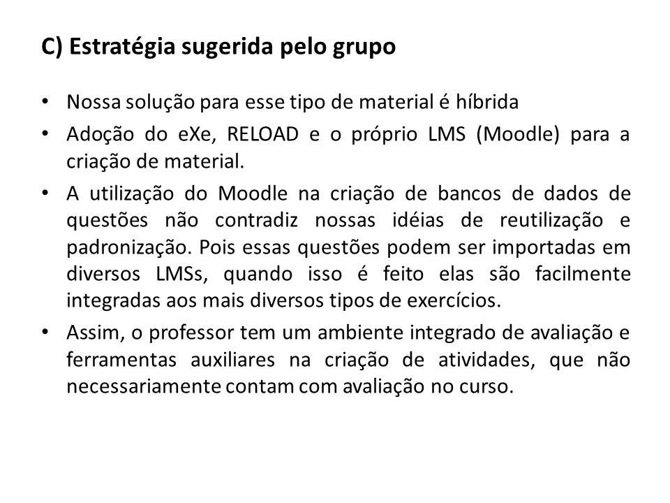 C) Estratégia sugerida pelo grupo