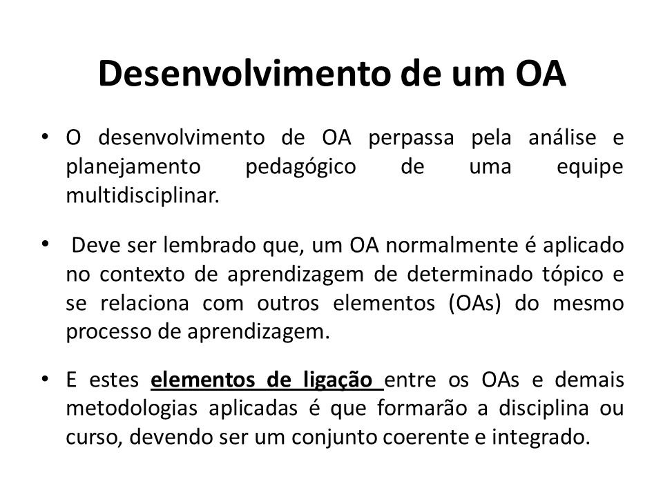 Desenvolvimento de um OA
