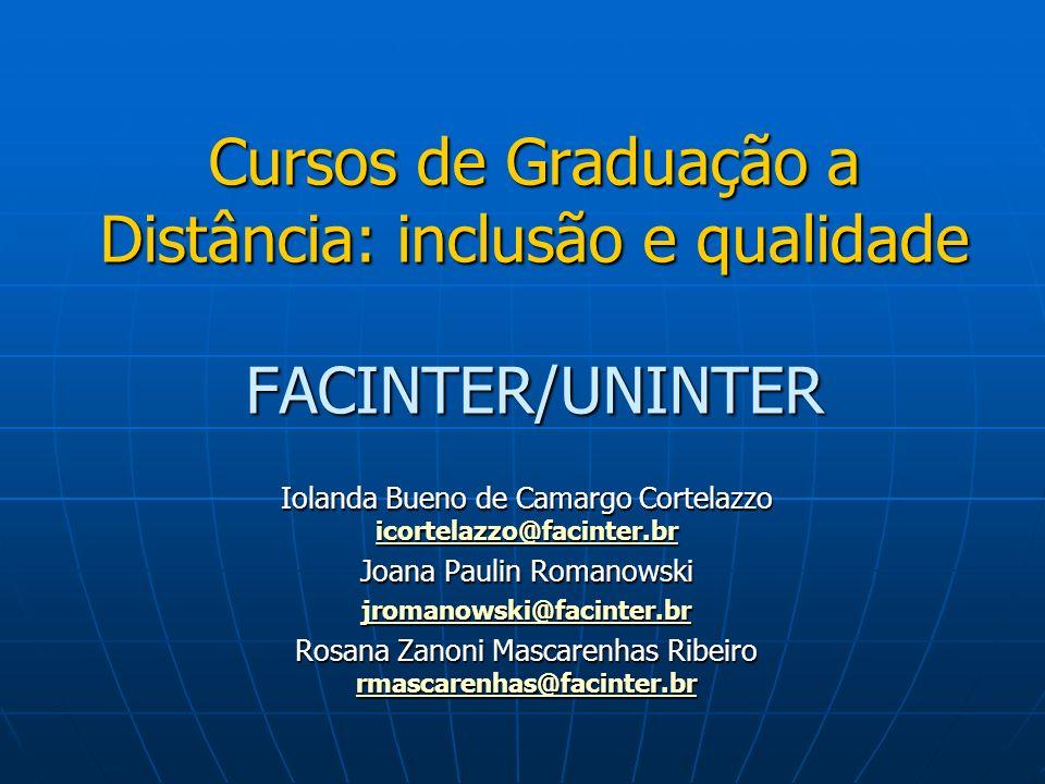 Cursos de Graduação a Distância: inclusão e qualidade FACINTER/UNINTER