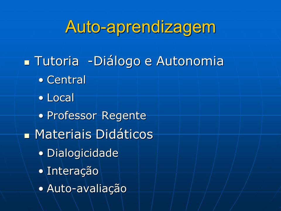 Auto-aprendizagem Tutoria -Diálogo e Autonomia Materiais Didáticos