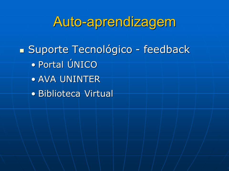 Auto-aprendizagem Suporte Tecnológico - feedback Portal ÚNICO