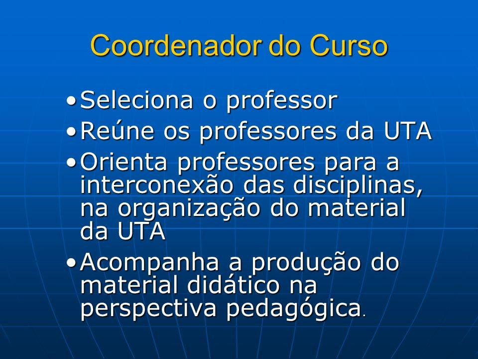 Coordenador do Curso Seleciona o professor Reúne os professores da UTA