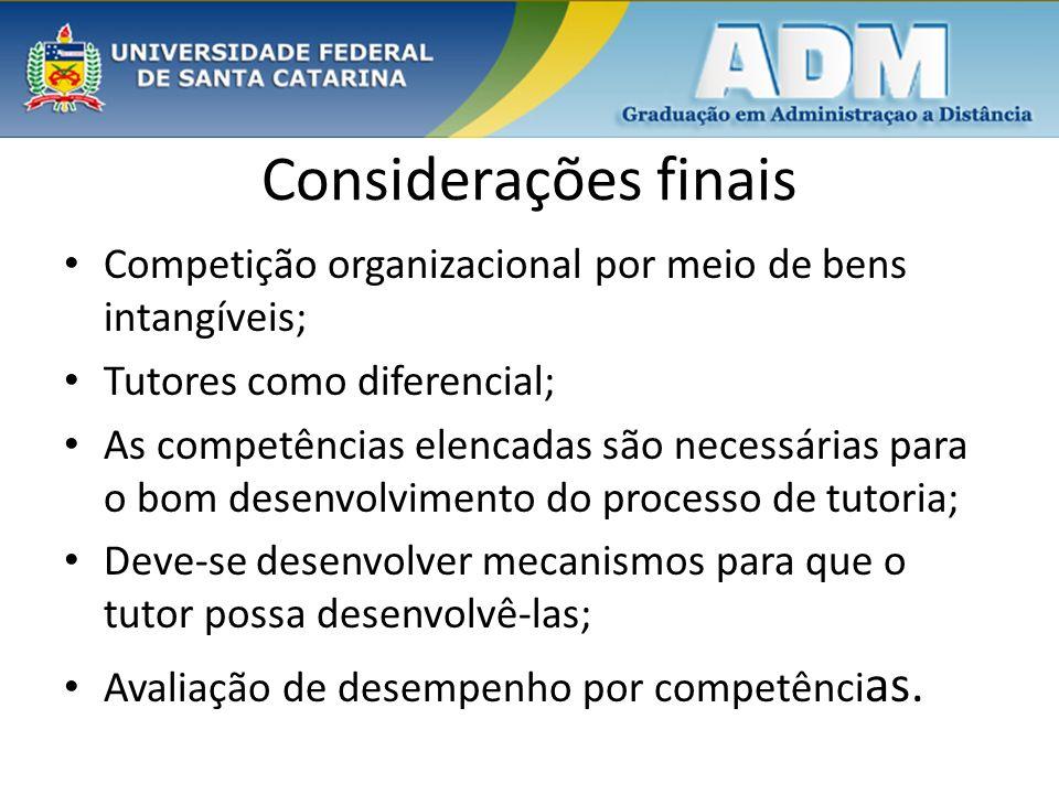 Considerações finais Competição organizacional por meio de bens intangíveis; Tutores como diferencial;