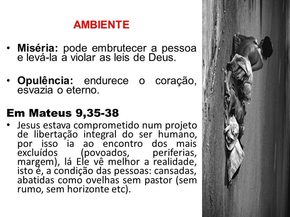AMBIENTE Miséria: pode embrutecer a pessoa e levá-la a violar as leis de Deus. Opulência: endurece o coração, esvazia o eterno.