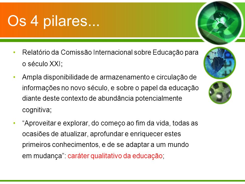 Os 4 pilares... Relatório da Comissão Internacional sobre Educação para o século XXI;