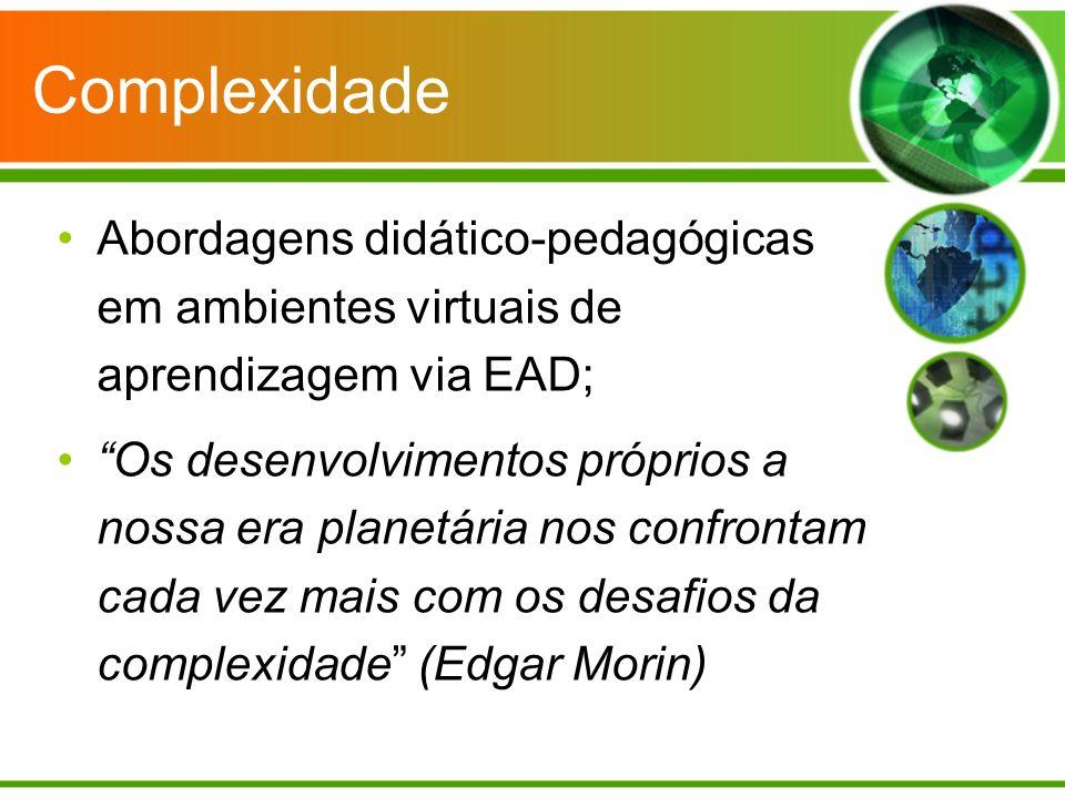 Complexidade Abordagens didático-pedagógicas em ambientes virtuais de aprendizagem via EAD;