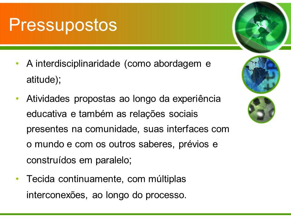 Pressupostos A interdisciplinaridade (como abordagem e atitude);