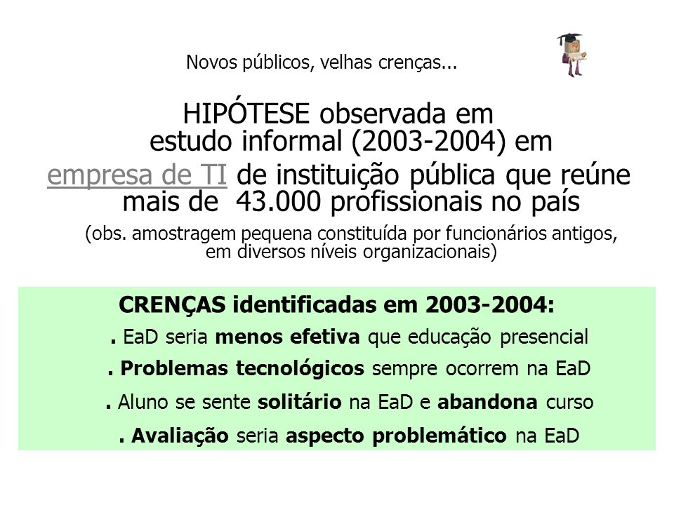 HIPÓTESE observada em estudo informal (2003-2004) em