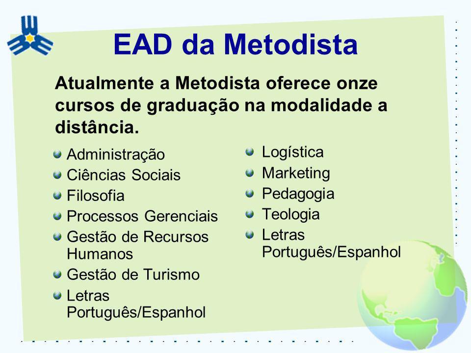 EAD da MetodistaAtualmente a Metodista oferece onze cursos de graduação na modalidade a distância. Administração.