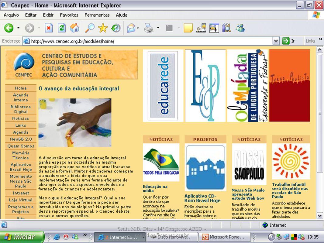 Sonia M.B. Dias - 14º Congresso ABED - soniadias@cenpec.org.br