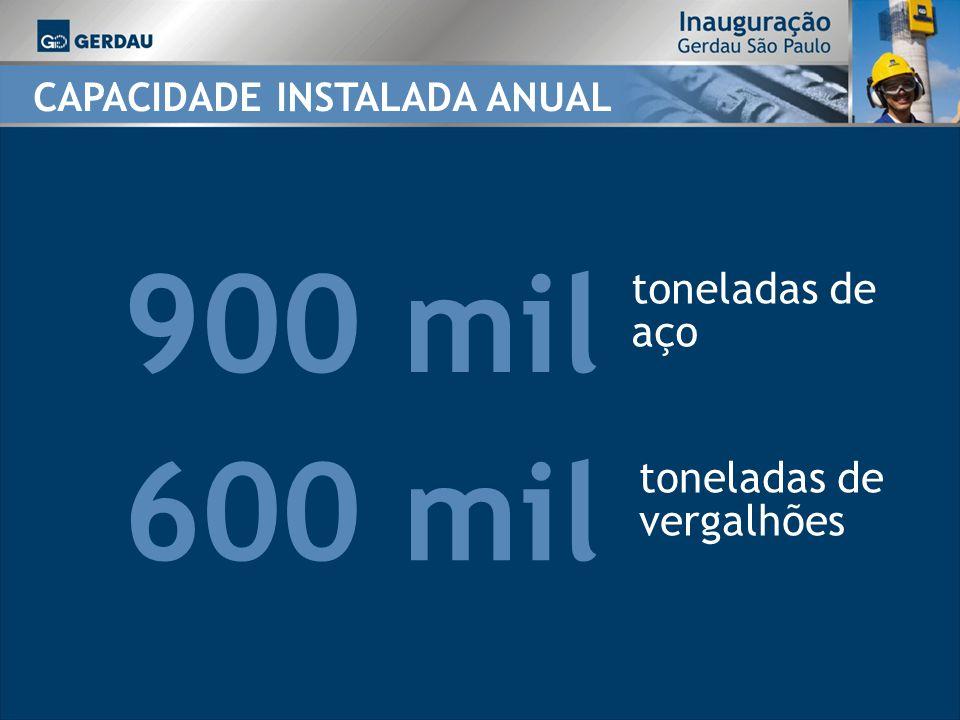 900 mil 600 mil toneladas de aço toneladas de vergalhões