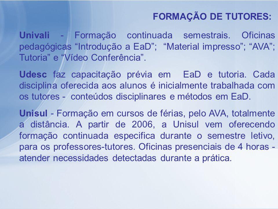 FORMAÇÃO DE TUTORES: