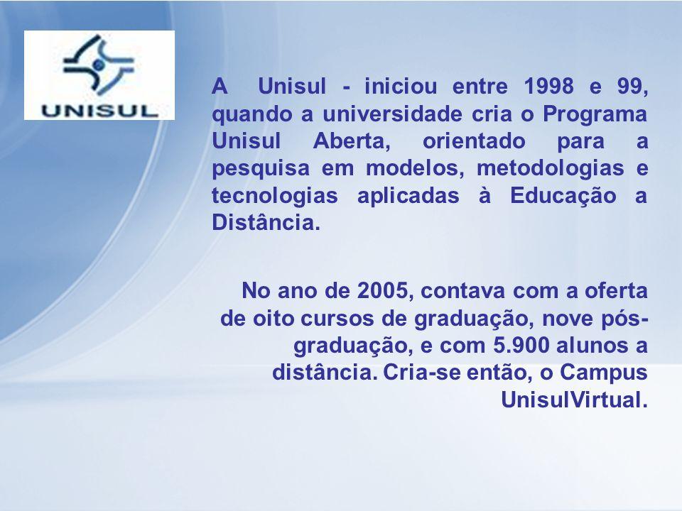 A Unisul - iniciou entre 1998 e 99, quando a universidade cria o Programa Unisul Aberta, orientado para a pesquisa em modelos, metodologias e tecnologias aplicadas à Educação a Distância.