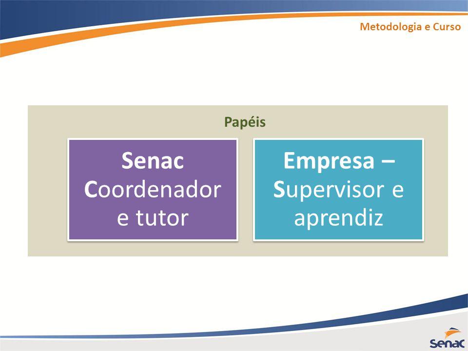 Senac Coordenador e tutor Empresa – Supervisor e aprendiz