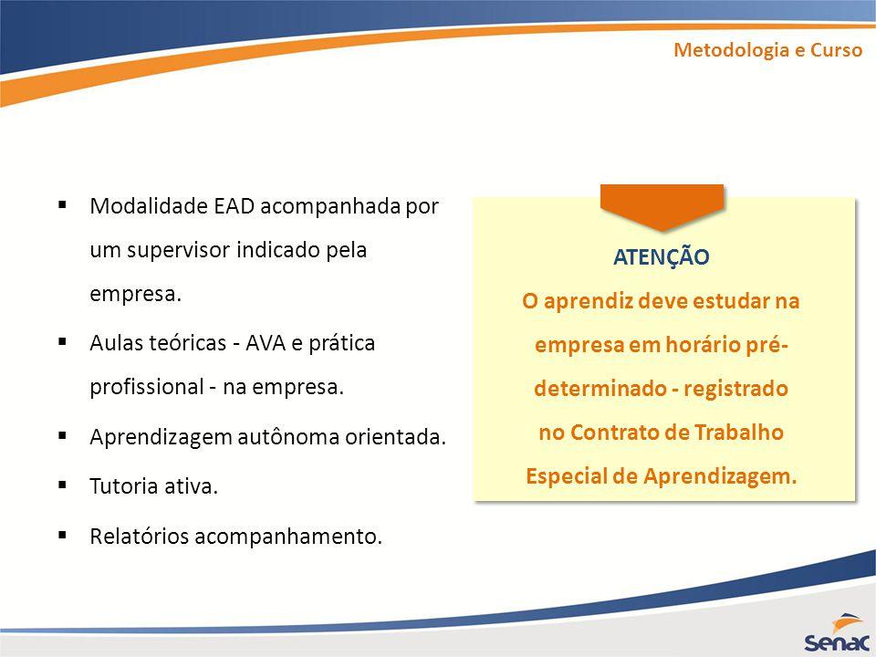 Modalidade EAD acompanhada por um supervisor indicado pela empresa.