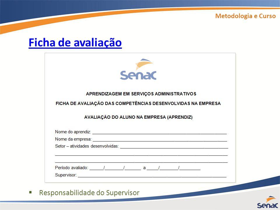 Metodologia e Curso Ficha de avaliação Responsabilidade do Supervisor