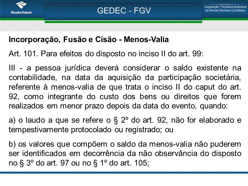 GEDEC - FGV Incorporação, Fusão e Cisão - Menos-Valia