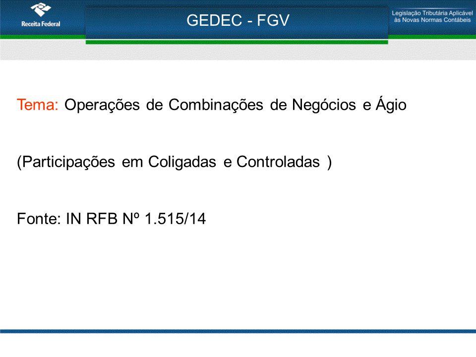 GEDEC - FGV Tema: Operações de Combinações de Negócios e Ágio. (Participações em Coligadas e Controladas )
