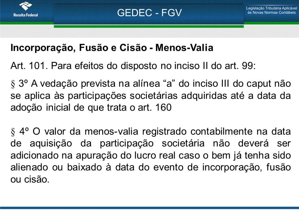 GEDEC - FGV Incorporação, Fusão e Cisão - Menos-Valia. Art. 101. Para efeitos do disposto no inciso II do art. 99: