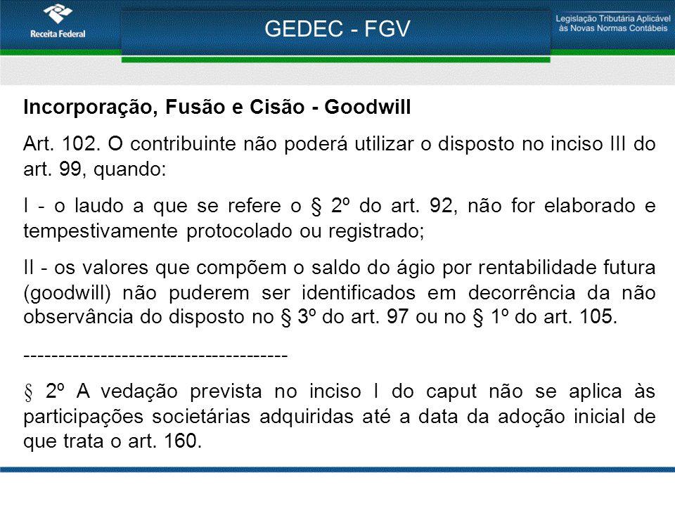 GEDEC - FGV Incorporação, Fusão e Cisão - Goodwill