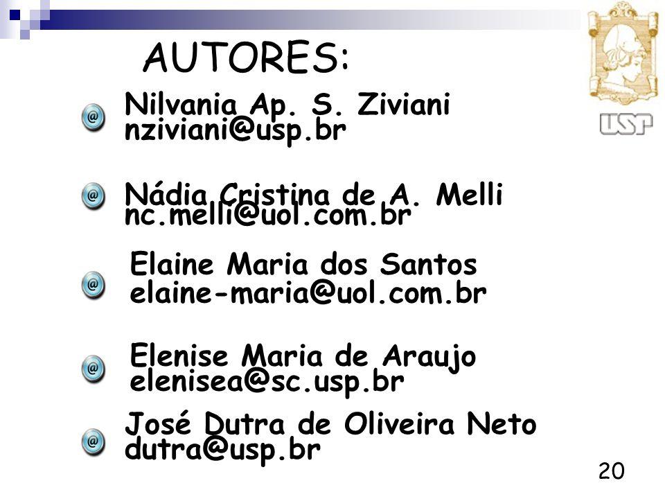 AUTORES: Nilvania Ap. S. Ziviani nziviani@usp.br