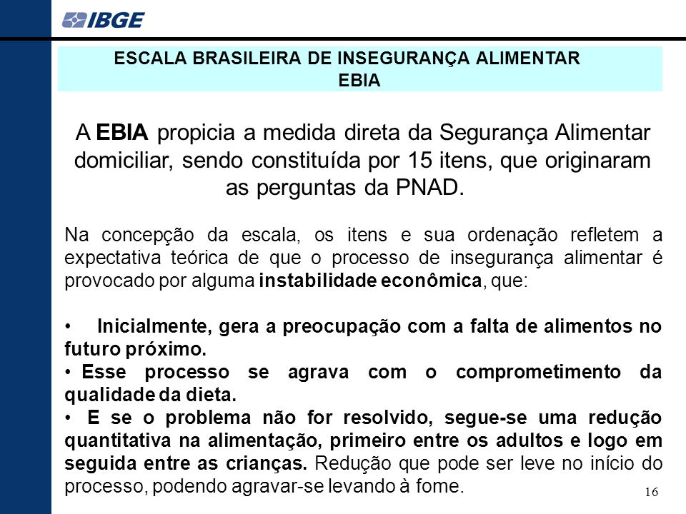 ESCALA BRASILEIRA DE INSEGURANÇA ALIMENTAR