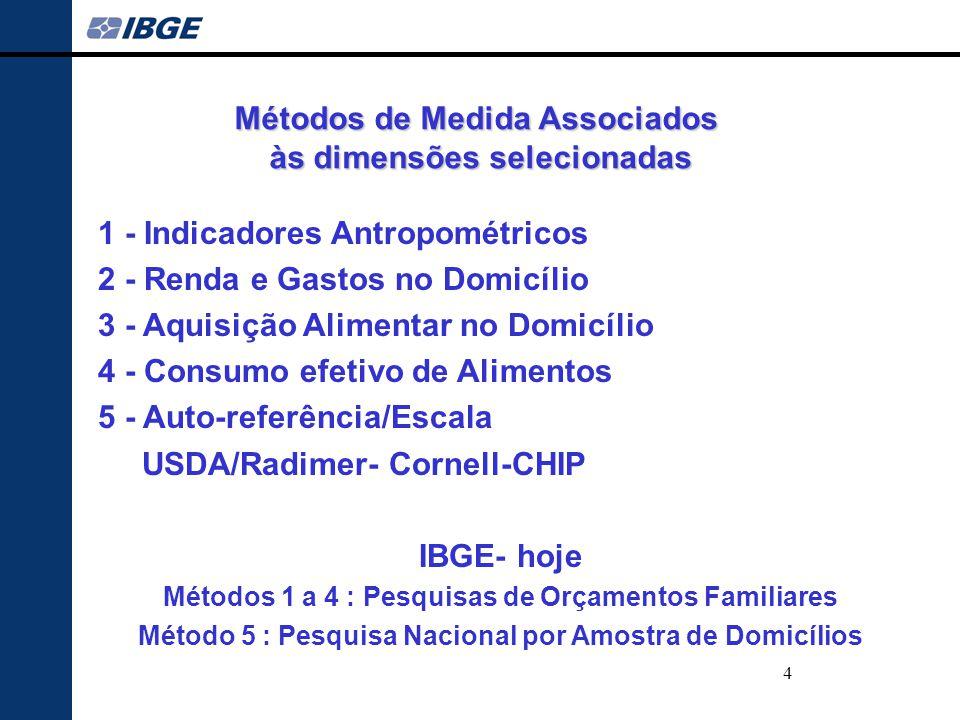 Métodos de Medida Associados às dimensões selecionadas IBGE- hoje