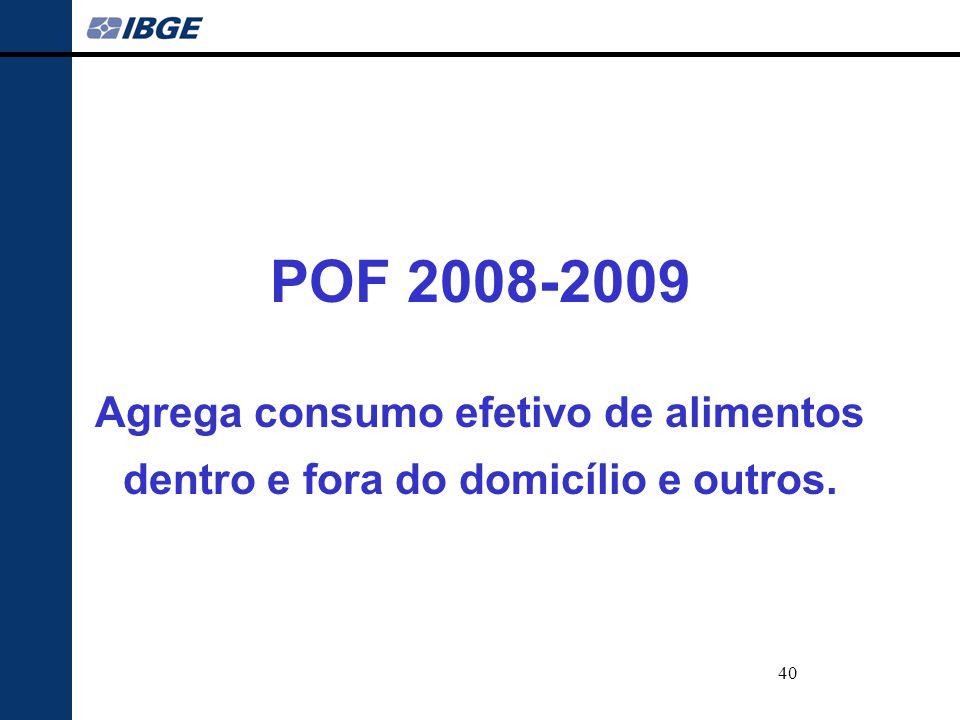 POF 2008-2009 Agrega consumo efetivo de alimentos dentro e fora do domicílio e outros.