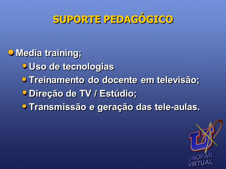 SUPORTE PEDAGÓGICO Media training; Uso de tecnologias