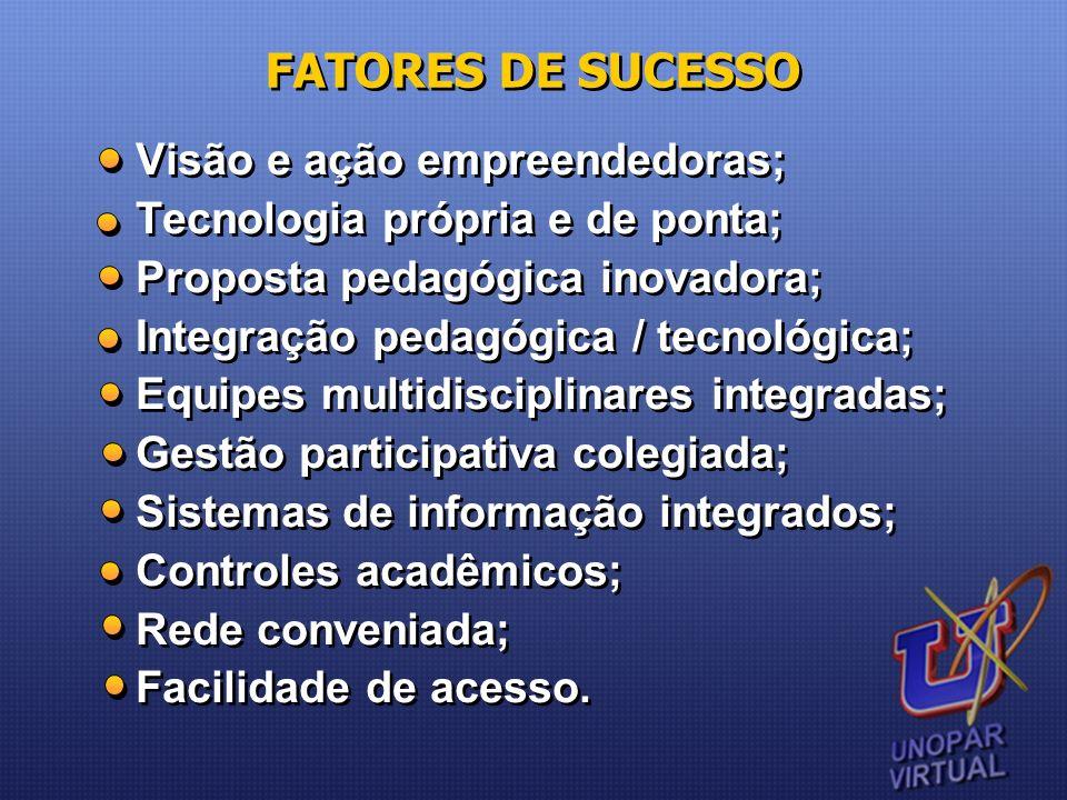 FATORES DE SUCESSO Visão e ação empreendedoras;
