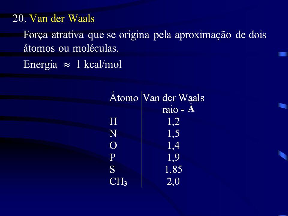 20. Van der Waals Força atrativa que se origina pela aproximação de dois átomos ou moléculas. Energia  1 kcal/mol.