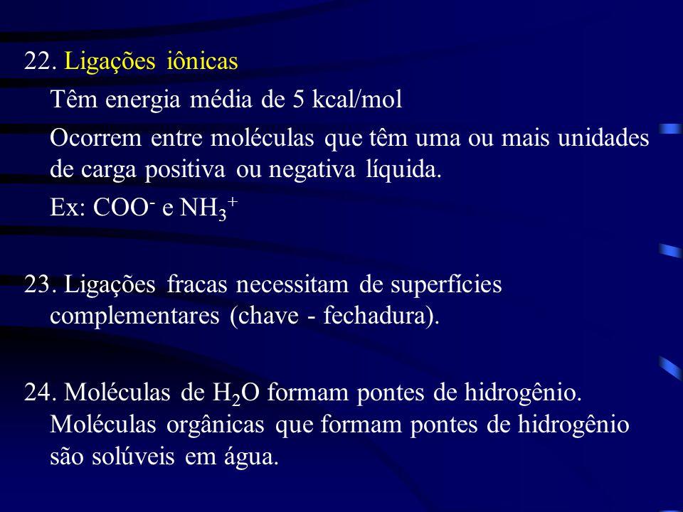22. Ligações iônicas Têm energia média de 5 kcal/mol. Ocorrem entre moléculas que têm uma ou mais unidades de carga positiva ou negativa líquida.