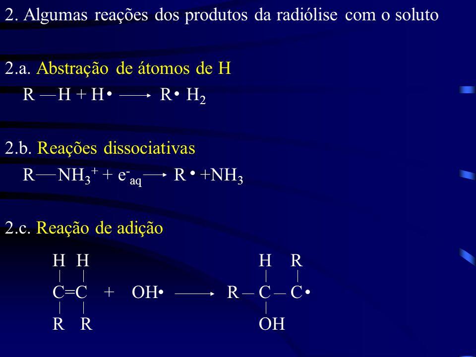 2. Algumas reações dos produtos da radiólise com o soluto