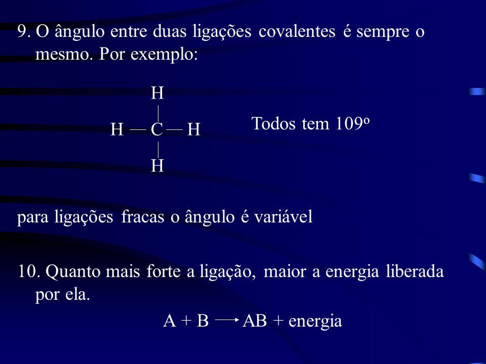 9. O ângulo entre duas ligações covalentes é sempre o mesmo