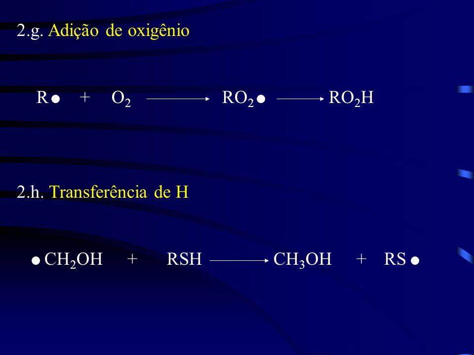 2.g. Adição de oxigênio R + O2 RO2 RO2H 2.h. Transferência de H CH2OH + RSH CH3OH + RS