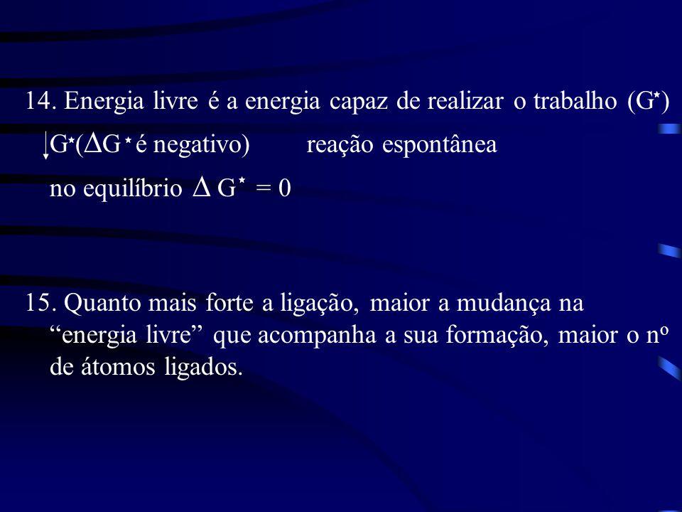 14. Energia livre é a energia capaz de realizar o trabalho (G )