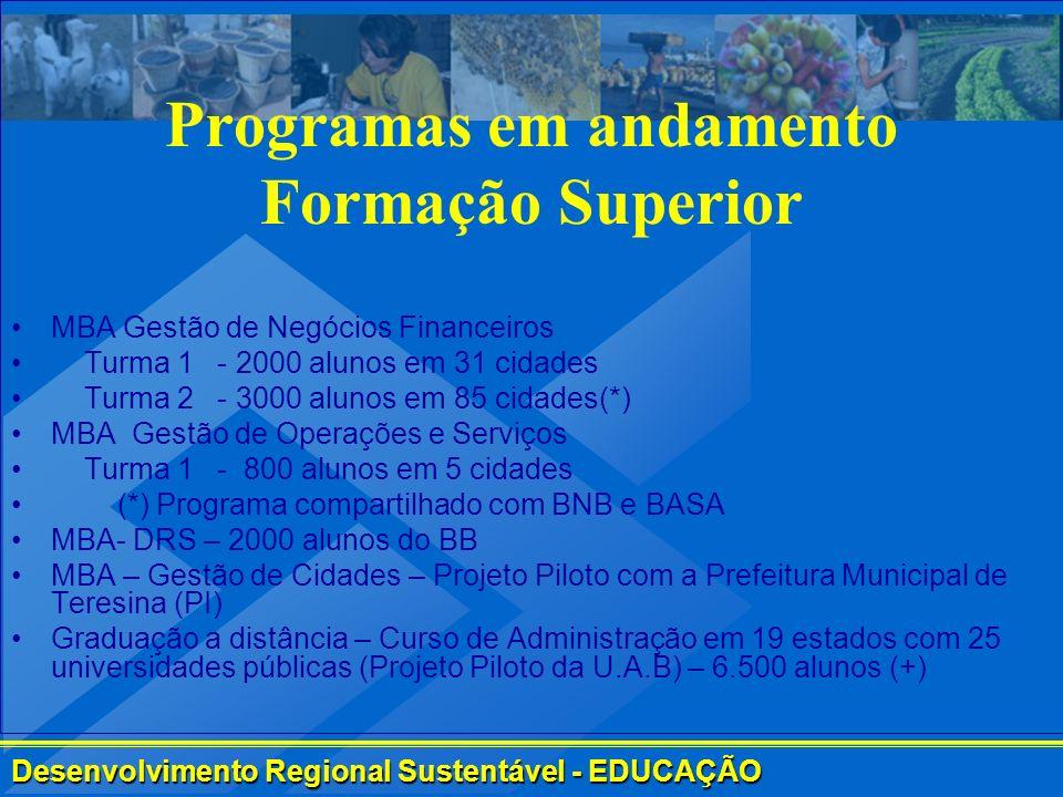 Programas em andamento Formação Superior