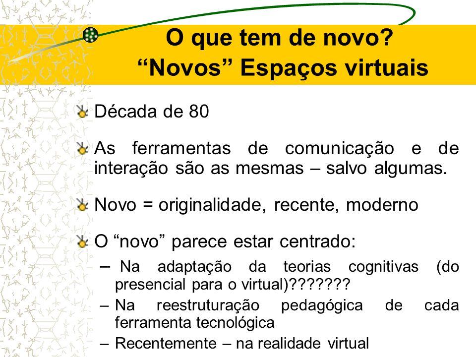 O que tem de novo Novos Espaços virtuais